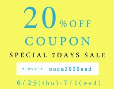 【OucaWEBSHOP】\\夏のSALEスタート//本日より7日間限定!20%OFFクーポンプレゼント