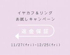 リング&イヤカフお試しキャンペーンのお知らせ 11/27  ~12/25